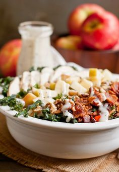 This Chicken Bacon and Apple Kale Salad with balsamic poppyseed dressing is a healthy fall meal!