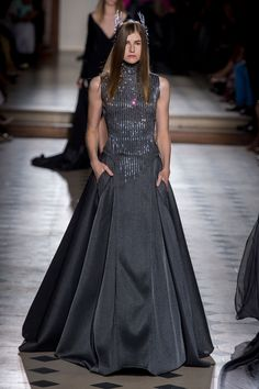Julien Fournie | Fall 2015 Couture | 28 Grey embellished sleeveless maxi dress