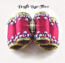 Dog Bow-Full Size, Fabulous Fakes, Fuchsia Crystal AB