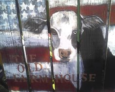 this is one of my favorite pieces ive ever painted a cow on an old garden gate