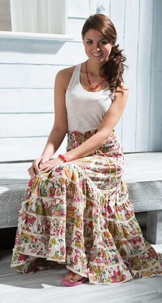 Cotton floral print tiered skirt/dress - freesize