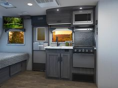 Gallery - Lance 1575 Travel Trailer - Super slide & 2775 dry weight, small is the new big. Small Travel Trailers, Camping Trailers, Stylish Interior, Kitchen Appliances, Big, Gallery, Modern, Camper, Spaces