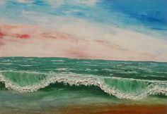 Abstract Caribbean Ocean Wave - Oil Painting