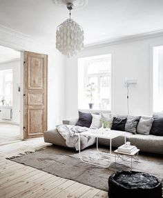 linen light and dark grey and charcoal, pale wood, leather white and white light
