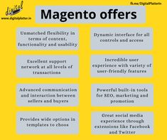 Considering the current situation the world is all about ecommerce solutions. Today most of the customers prefer to buy products online rather than offline. To design e-commerce platform Magneto is an effective tool to design the framework of website which helps the user to purchase and study the detail of product. Use this amazing magneto platform to design and optimized your website.  #Magneto #PowefulPlatform #ECommercePlatform #ExpertWebDeveloper #BusinessPromotion  #DigitalPlatter Digital Marketing Services, Email Marketing, Content Marketing, Social Media Marketing, Ecommerce Solutions, Ecommerce Platforms, App Development, Platter, Study