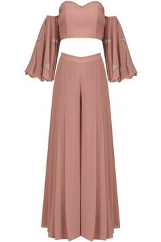 Ruhmahsa presents Blush pink off shoulder embroidered crop top and palazzo pants set available only at Pernia's Pop Up Shop. Indian Fashion Trends, Indian Designer Outfits, Designer Dresses, Indian Gowns, Indian Attire, Indian Wear, Indian Wedding Outfits, Indian Outfits, Crop Top Rosado