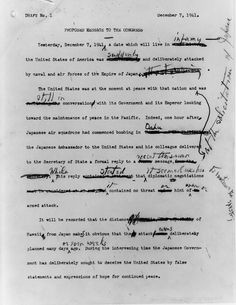 "Draft of FDR's ""Day of Infamy"" war speech."