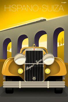 Vintage style Hispano-Suiza automobile poster by Michael Crampton