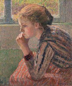 Camille Pissarro (1830-1903) Tête de jeune fille de profil dite 'la Rosa' (1896) oil on canvas 54.9 x 46 cm
