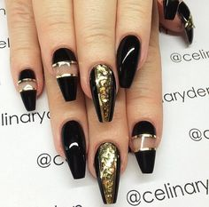 Black gold and glitter nail art