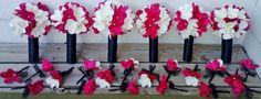 Red White Plumeria Bouquet 10 piece Set Red by SilkFlowersByJean, $345.00