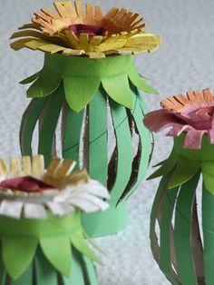 DIY Toilet roll egg carton flowers