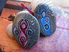 Spiral GOD & GODDESS Altar Stones with Pouch ~ CHARM Amulets. Witch Wicca