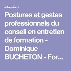 Postures et gestes professionnels du conseil en entretien de formation - Dominique BUCHETON - Formation des personnels de l'académie de Dijon