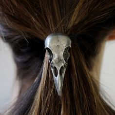 Antique Silver Crow Skull Hair Tie Pony Tail Holder by mrd74