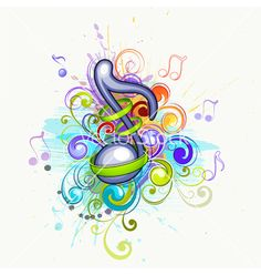 Colorful music notes vector on VectorStock®