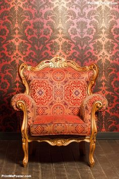 Poster of vintage red-yellow chair with gold accents, Architecture Posters, Chair Photography, Photography Backdrops, Portrait Photography, Studio Background Images, Background For Photography, Background Pictures, Vintage Architecture, Architecture Posters, Wedding Album Design