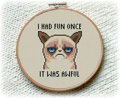 BOGO FREE! Grumpy Cat Cross Stitch Pattern, I Had Fun Once It Was Awful Cross Stitch, Embroidery Needlework PDF Instant Download  #017-2