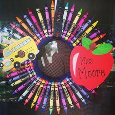 Crayon wreath for teacher graduation party