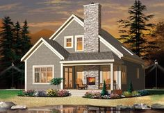 New American House Plan with 1742 Square Feet and 2 Bedrooms from Dream Home Source   House Plan Code DHSW75550