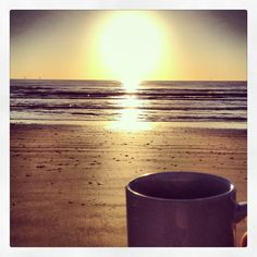 Sunrise, beach, coffee - bliss.