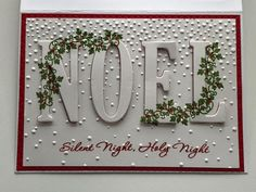Noel Christmas Card with Embossing Folder Christmas Cards 2018, Homemade Christmas Cards, Christmas Paper, Xmas Cards, Christmas Greetings, Handmade Christmas, Homemade Cards, Holiday Cards, Christmas Crafts