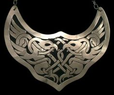"""Greifvogel Gorget   IntertwinedBirds of Prey Late Celtic Style  Sterling Silver Overlay with Chain  Approx. 4.5"""" wide"""