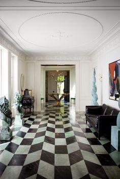 Kelly Wearstler, May 2013 Issue - Marble flooring in a geometric pattern in an entryway