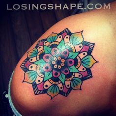Probably the girliest color scheme I've ever used. Super fun mandala from yesterday's walk-ins on a nice gal visiting from Michigan. I'm on walk-ins today from NOON - 6PM @threekingstattoo. Come and say what's up! (at Three Kings Tattoo) TRON/ LOSINGSHAPE.COM THREE KINGS TATTOO #flowertattoosonshoulder Colorful Mandala Tattoo, Mandala Arm Tattoo, Mandala Tattoo Shoulder, Mandala Flower Tattoos, Shoulder Tattoos, Flower Tattoo Designs, Colorful Tattoos, Geometric Tattoos, Mandala Art