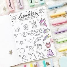 35 Bullet Journal How to Doodle Tutorials Bullet journaling is cheap therapy that works! Here are 35 bullet journal how to doodle tutorials that'll help you step up your bujo game. Bullet Journal Headers, Bullet Journal Notes, Bullet Journal 2019, Bullet Journal Ideas Pages, Journal Pages, Journal Diary, Doodle Drawings, Easy Drawings, Doodle Art