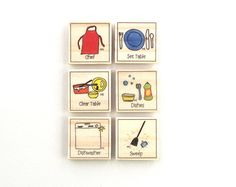 Basic Daily Chore Magnet Set of 12 Chore Magnets by AbbiesHouse