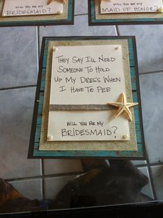 Bridesmaid Invitations DIY beach theme