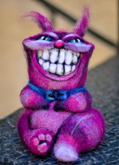 Needle Felted Truly Mad Wonderland Cheshire Monster Cat Wool Art