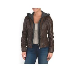 Leather Lyda Jacket ($150) ❤ liked on Polyvore featuring outerwear, jackets, lightweight hooded jackets, lightweight jacket, hooded leather jackets, lightweight leather jackets and real leather jackets