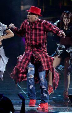 "#ChrisBrown wearing #Nike Air Yeezy 2 ""Red October"""