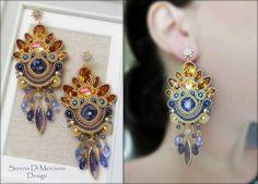 Diy Jewelry, Beaded Jewelry, Jewelery, Handmade Jewelry, Fashion Jewelry, Soutache Earrings, Big Earrings, Drop Earrings, Shibori