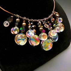 Statement Necklace Dichroic Fused Glass Sparkling by HSokol