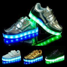 Enfants Fille Garçon USB Charge LED Lumineuse Sport Basket Chaussure Chaussons