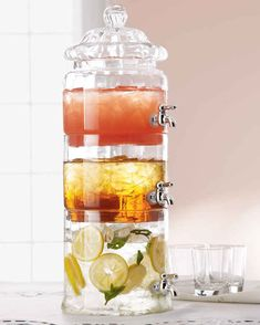 Stacked Optic-Glass Beverage Server - modern - serveware - - by Horchow Modern Serveware, Must Have Kitchen Gadgets, Must Have Gadgets, Kitchen Must Haves, Massage Room, Massage Therapy, Play Therapy, Drink Dispenser, Kitchen Organization