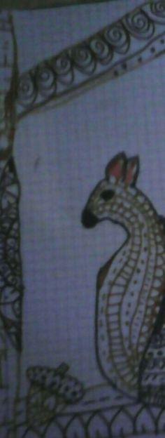 Hola,he hecho este dibujo de una ardilla  en su árbol🌳🌲🐿🐿