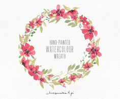 Watercolor wreath: 1 PNG floral clip art / Wedding invitation clip art / commercial use / floral paradise pink / CM0063g