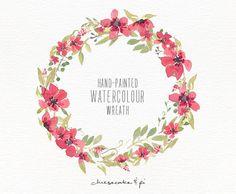 Watercolor wreath: 1 PNG floral clip art / Wedding invitation clip art / commercial use / floral paradise pink / CM0063g