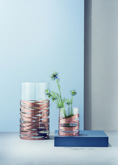 Stelton Tangle Vase :  Decorative copper bands wrapped around the glass in a stylish pattern, adding luxury to any room.