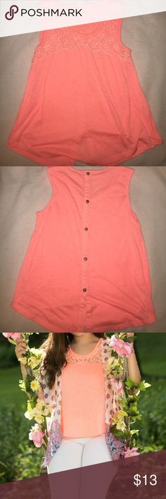 Coral faux button Lace high neck tank Worn once for my senior pictures em Tops Tank Tops
