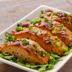This Peanut Butter Salmon with Miso from iFoodreal is tender and moist with a creamy peanut butter miso dressing. A delicious and nutritious mid-week meal ready in under an hour and perfect for serving alongside grains and veggies! Butter Salmon, Miso Dressing, Creamy Peanut Butter, Oven Baked, Salmon Recipes, Dinner Recipes, Dinner Ideas, Seafood, Veggies