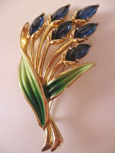 Vintage Signed Coro Enamel and Sapphire Blue Rhinestone Pin-Brooch from The Vintage Jewelry Lounge on Ruby Lane