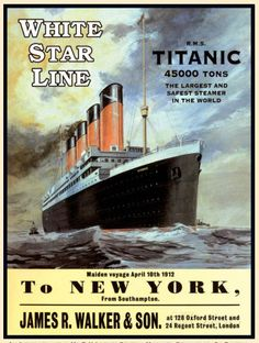 TITANIC, White Star Liner, RMS Ship/Boat, New York Large Metal/Tin Sign, Picture in Collectables, Transportation, Nautical | eBay