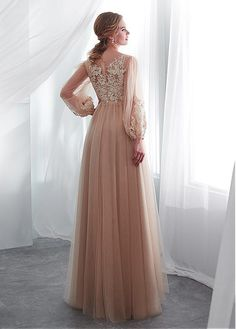 Lilybridalshop In Stock Wonderful Tulle Bateau Neckline A-line Wedding Dress With Lace Appliques Evening Party Gowns, Evening Dresses, Tulle Prom Dress, Lace Dress, Champagne Evening Dress, Prom Dresses Long With Sleeves, Dress Long, Different Dresses, Mode Hijab