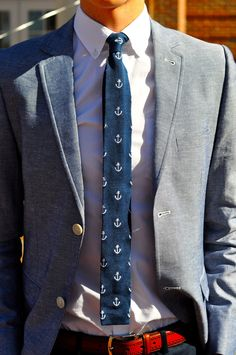 Mens Fashion Rugged – The World of Mens Fashion Nautical Shirt, Stylish Shirts, Stylish Outfits, Knit Tie, Suit And Tie, Mens Clothing Styles, Men's Clothing, Clothing Ideas, Mens Suits
