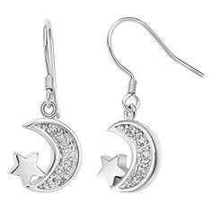 YLR White Gold Plated Jewelry Parent Child Moon Star Elongated Shiny Zircon Loop Drop Earrings * Check out this great product. Note:It is Affiliate Link to Amazon.